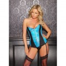 Rubber Look Vinyl And Brocade Eva Corset A-11-5661